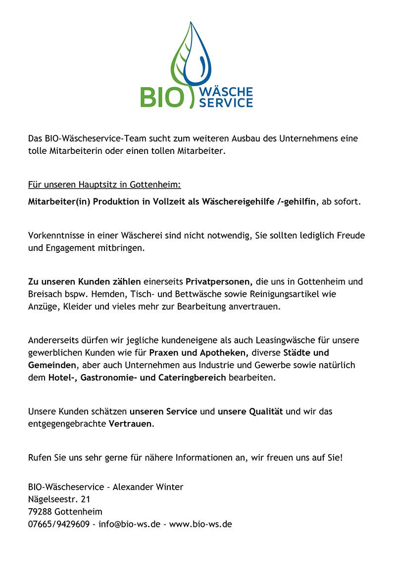 Bio Waesche Service Stellenanzeige Online