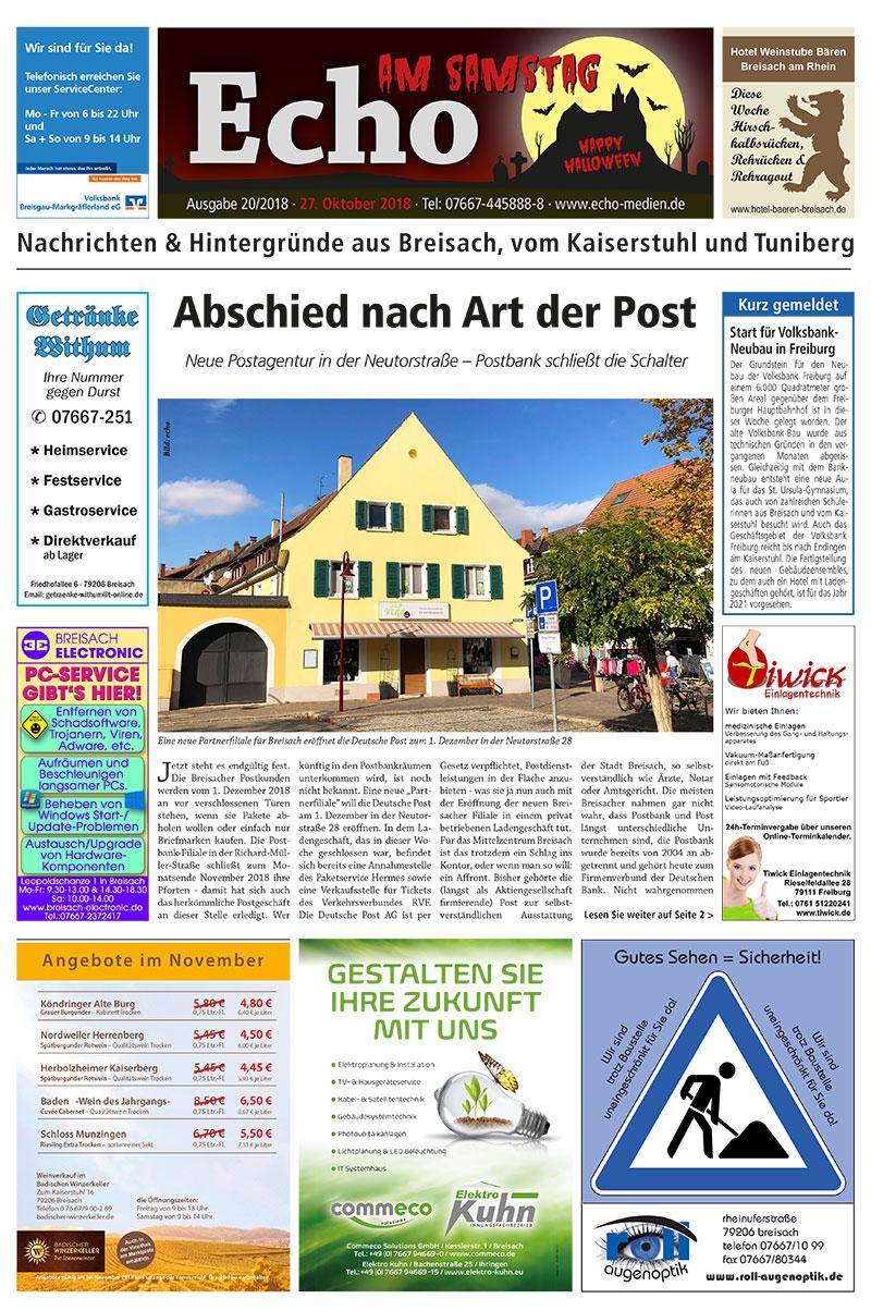 E Paper Cover Echo Medien Ausgabe 20 2018