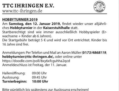 Hobbyturnier am 12. Januar 2019 beim TTC Ihringen
