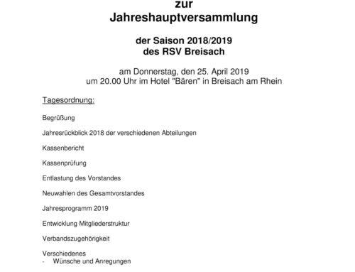 Radsportverein Breisach: Einladung zur Jahreshauptversammlung