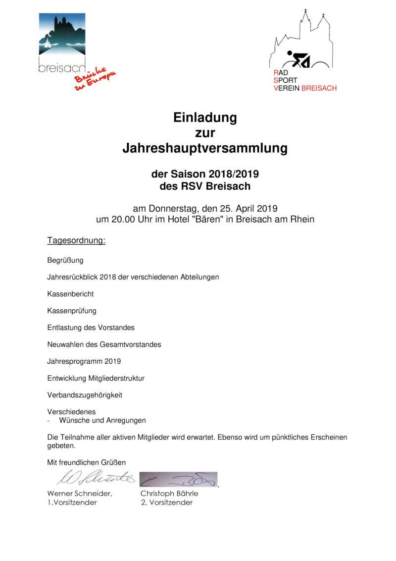 Radsportverein Breisach Einladung