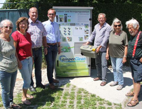 Eine Entsorgungs- und Frischwasserstation für Wohnmobile