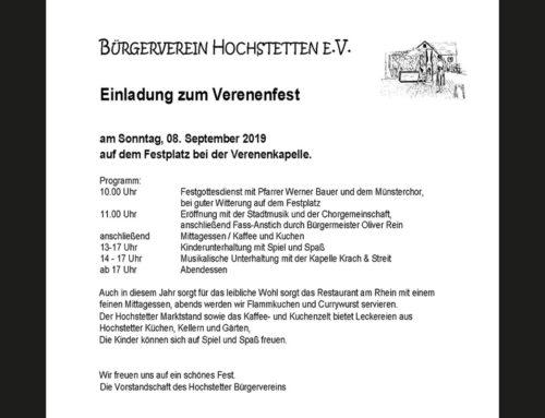 Verenenfest in Hochstetten am 8. September
