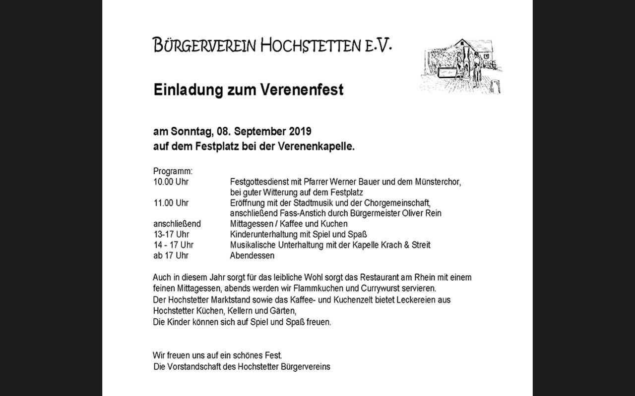 Einladung Verenenfest Hochstetten