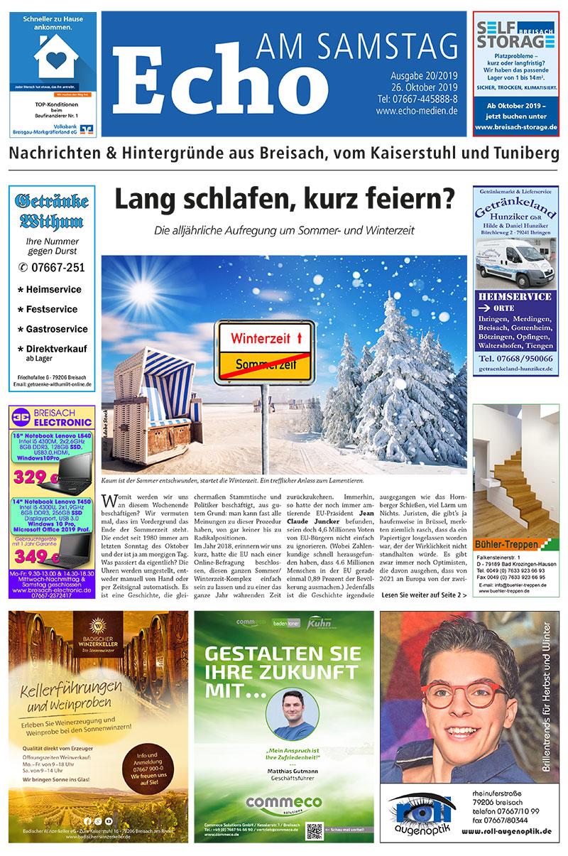 E Paper Cover Echo Medien Ausgabe 20 2019