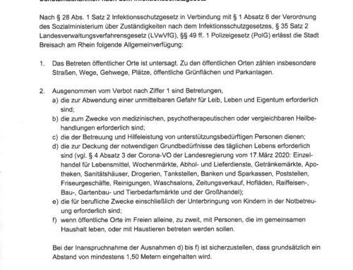Allgemeinverfügung der Stadt Breisach am Breisach