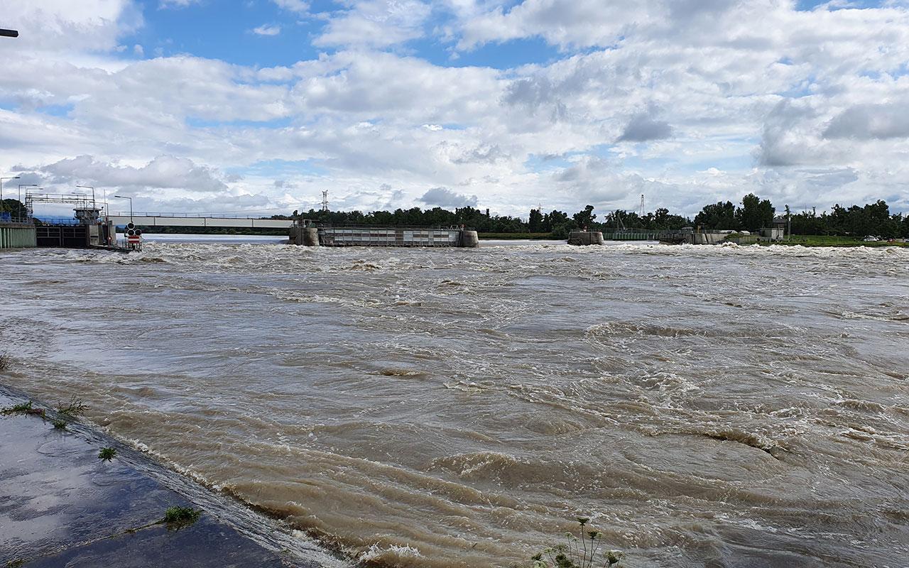 Kulturwehr Hochwasser Breisach