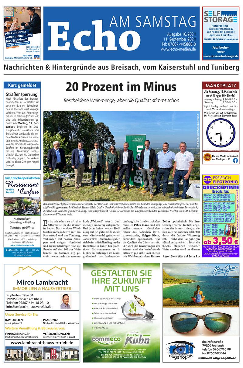 E Paper Cover Echo Medien Ausgabe 16 2021